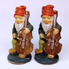 2 vtg gnome figurines Germany paper mache playing bass fiddle music