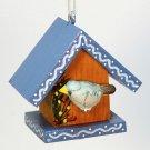 vtg birdhouse ornament wooden Christmas