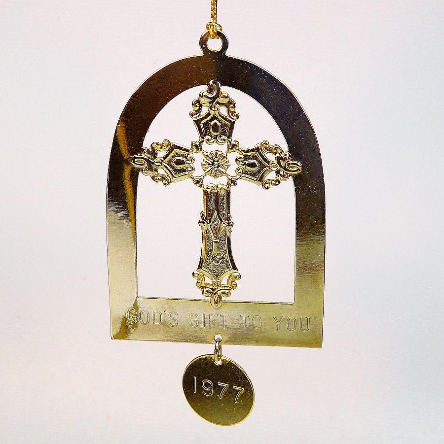 vtg cross ornament Lillian Vernon 1977 God's Gift to You brass