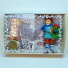 vtg Bradford Novelty boy w wreath blue coat ornament in gift box 1986 Christmas