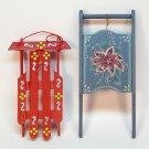 2 vtg sled handpainted ornaments Christmas wooden handcrafted