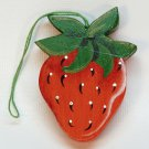 vtg strawberry ornament Christmas wooden hand painted