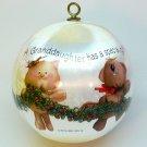 vtg Hallmark 1982 Granddaughter Christmas ornament Rare satin ball QX2243 kittens puppy bunny bear