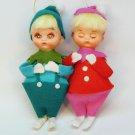 vtg awake and asleep Christmas ornaments Japan Kresge boy girl