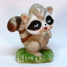vintage raccoon figurine bisque porcelain 1978