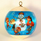 vtg elves building snowman ornament Christmas Designers Collection WWA 1979 satin ball