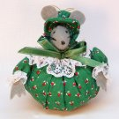 vtg mouse ornament hand crafted lady Christmas calico print