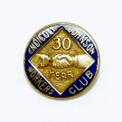Vtg Endicott Johnson 30 year service pin 10K GF handshake blue enamel