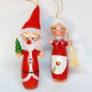2 vtg Santa and Mrs Claus ornaments wooden Christmas Taiwan