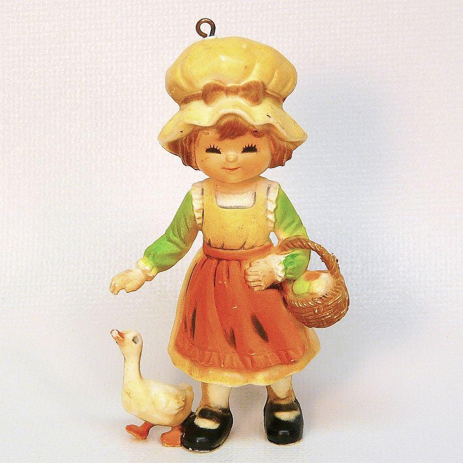 Vtg goose girl Christmas Ornament Bradford Novelty 1980s