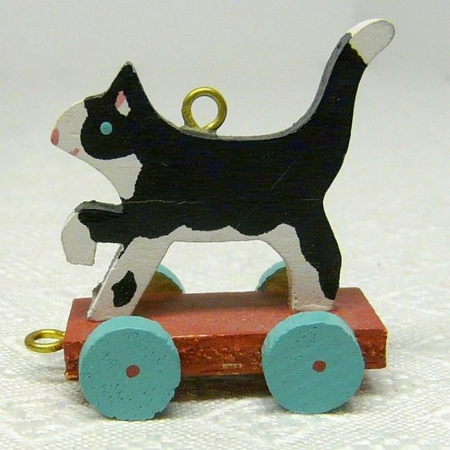 Vintage Hallmark Miniature Kitty Cart Christmas Ornament 1989 QXM5722