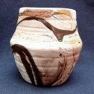 vintage Nemadji Vase Pottery Small USA  brown orange swirl Indian Head stamp on base