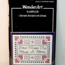 Wonderart sampler cross stitch embroidery stamped fabric Love Makes This House a Home