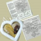 Vtg Bear and Cat Cross Stitch Kit Decorative Heart and Lace Frame by Deco Point