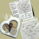 Vtg Welcome to All geese Cross Stitch Kit Decorative Heart and Lace Frame by Deco Point