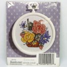 janlynn Cross Stitch Kit Floral 3 inches round with frame included