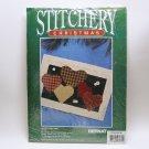 vintage Bernat Christmas Stitchery Kit Hearts Come Home country plaid