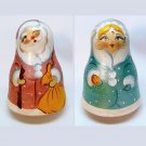vtg double sided Russian Santa & Snow Maiden Roly Poly chime doll
