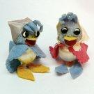 2 vintage felt birds w kerchiefs figurines satin ball pom pom pipe cleaners