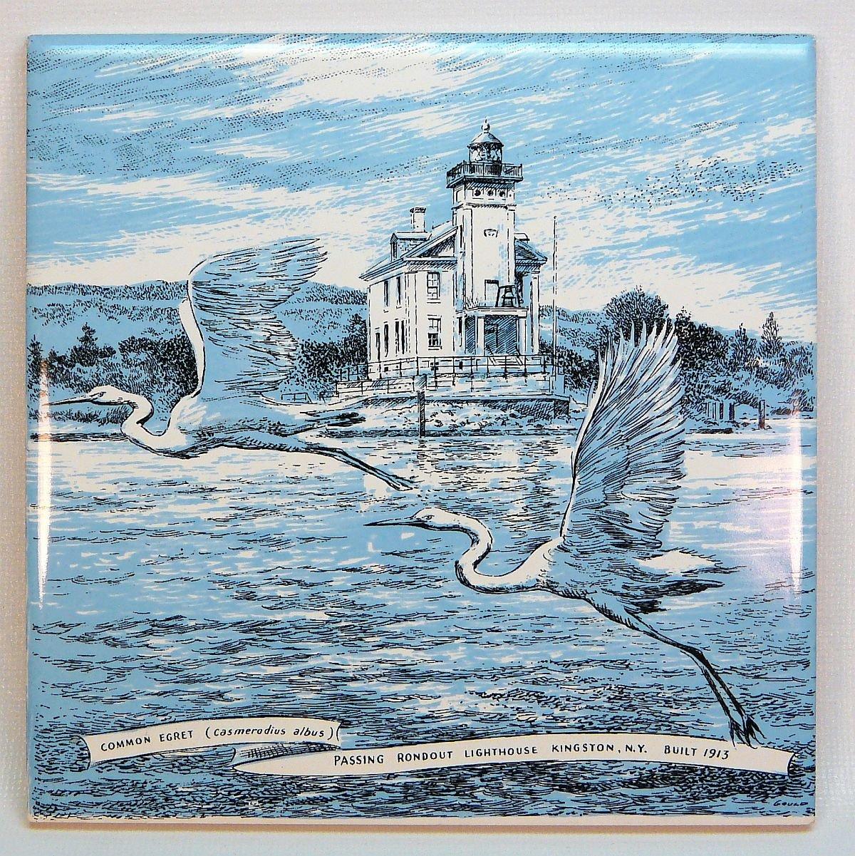 Ceramic Wall Tile or Trivet Rondout Lighthouse egrets Kingston NY