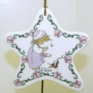 Precious Moments Christmas Ornament Winter's Song 1995 Little Girl with Blue Birds