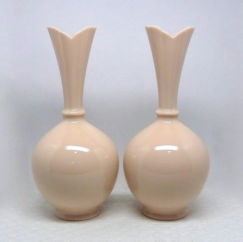 2 Vintage Lenox Bud Vases Pink Green Stamp Fine China