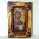 Vintage Greek Icon Christ Wall Plaque made in Traditional Byzantine style