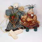 2 hand crafted country Christmas dolls lady rabbit and man