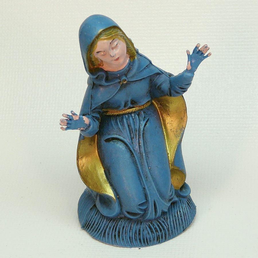 Vintage kneeling Mary Nativity figurine piece Italy plastic