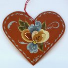 Vintage tole heart wooden Christmas ornament hand painted signed 1991
