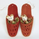 2 vintage mouse in a slipper Christmas ornaments flocked