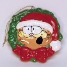 Vtg Enesco Garfield wreath Christmas ornament 1978