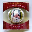 vtg Pope John Paul II gives his blessing ornament Christmas1980 Bradford Novelty satin pkg
