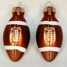 2 mini football Christmas ornaments blown glass