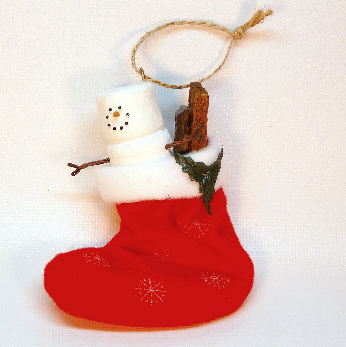 Jan Hagara Figurines For Sale: Smores Snowman In Stocking Christmas Ornament S'mores