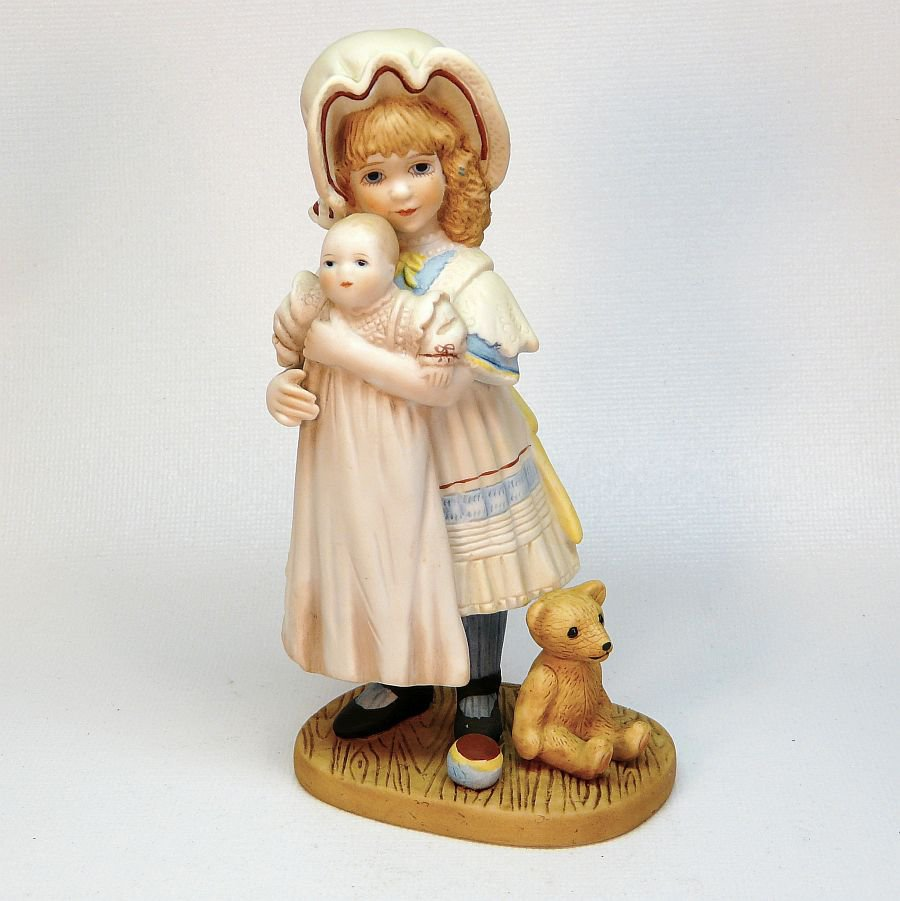Jan Hagara Figurines: Vtg Jan Hagara Figurine Jenny And Her Bye-Lo Doll Ltd Edit