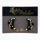 Vintage Park Lane clip on earrings moon and stars black with rhinestones