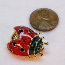 Vtg small ladybug pin enamel rhinestones