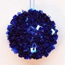 Cobalt blue beaded Christmas ornament