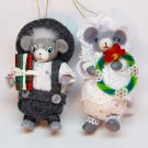 2 vintage dressed mice ornaments Mr and Mrs Mouse Christmas ornaments