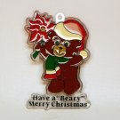 Vintage 1986 Bromac stained glass look bear Christmas ornament plastic