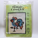 Vtg Heritage Crewel Kit Weathervane Chicken wall hanging or pillow 1002 Sew N Tell Inc.