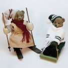 2 vintage Christmas bear figurines sledding skiing boy girl winter sports
