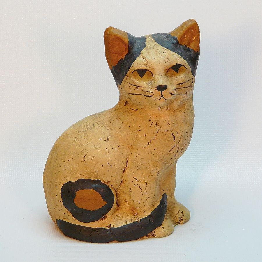 vintage mache cat figurine artist signed 1990