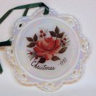 Vtg Fenton 1989 rose Christmas ornament pearlized white glass