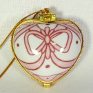 Porcelain hinged heart shaped Christmas ornament True Friends white and pink
