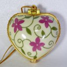 Porcelain hinged heart shaped Christmas ornament Hope yellow green agenta