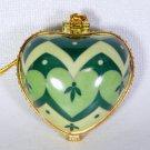 Porcelain hinged heart shaped Christmas ornament Abiding Faith greens