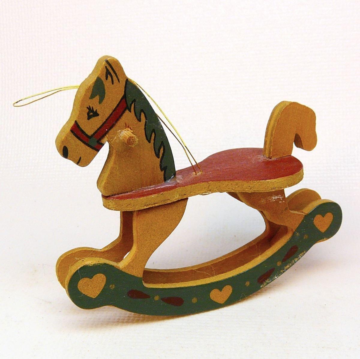 vintage wooden rocking horse Christmas ornament