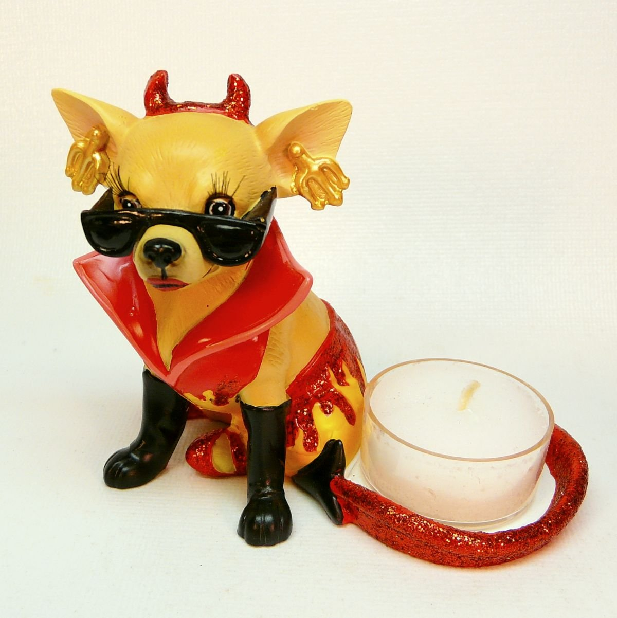 Chihuahua dressed in a devil costume tealight candle holder figurine dog tea light